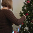 A husband and wife take down their Christmas tree. — Stock Video #13832886