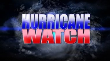 Hurricane watch title plate. — Stock video