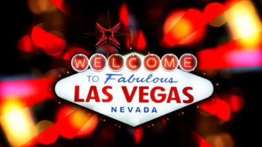 A stylized treatment of the Las Vegas welcome sign at night. — Stock Video