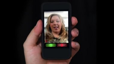 Video chatting on a portable handheld device. — Stock Video