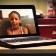 Two video chat on a portable laptop computer. — Vídeo de stock