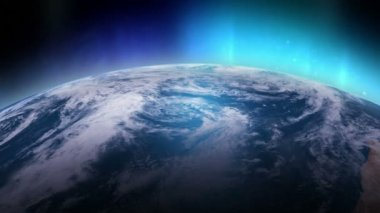 Simulerade aurora borealis sedd från rymden över nordpolen. — Stockvideo