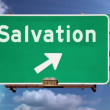 Stock Video: Religious salvation time lapse road sign.