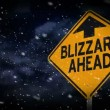 Stock Video: Blizzard warning sign.