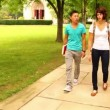Students meet and walk on a college campus. — Stock Video #16991741