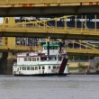 Riverboat travels under many bridges in Pittsburgh, PA. — Stock Video #16992333