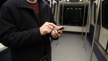 Man with Smartphone on Subway — Stock Video