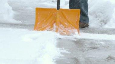 Man Shovels Snow — Stock Video