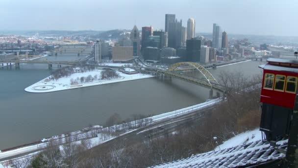 Invierno de Pittsburgh constitutivo de tiro — Vídeo de stock