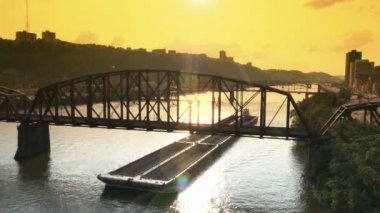 Pittsburgh Coal Barge — Stock Video