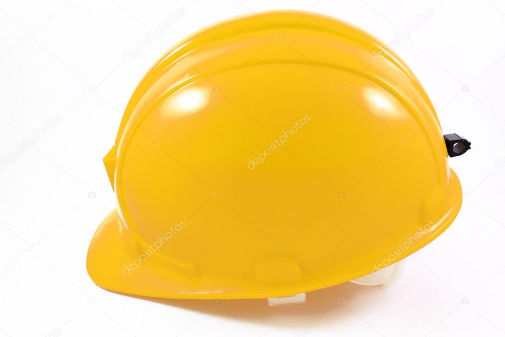 Yellow helmet of the miner on a white background  Stock Photo #14139211