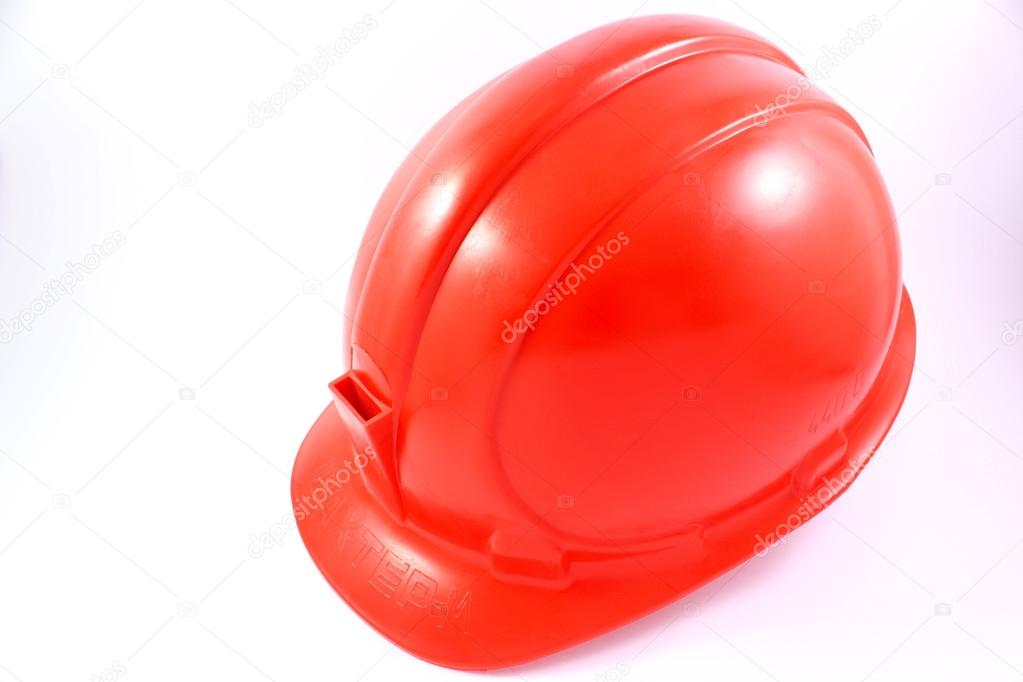 Red helmet of the miner on a white background — Stock Photo #14139212