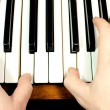 Hand on piano keys — Stock Photo