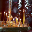 Wax candles in the orthodox church — Stock Video