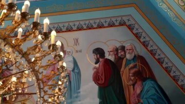 The painted ceiling in the Orthodox Church — Stock Video