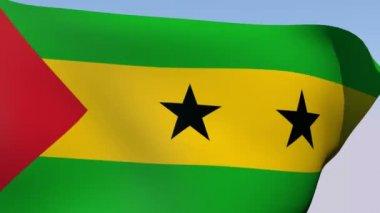 Flag of São Tomé and Príncipe Democratic Republic — Stock Video