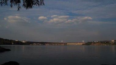 Sunset Light on Hydro Dam Timelapse — Stock Video