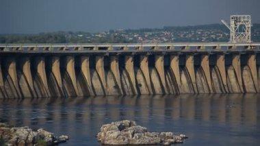 Sunset Light on Hydro Dam — Stock Video