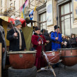 Постер, плакат: Cossacks beating the drums on Euromaydan Kiev Ukraine