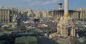 Independence square in Kiev, Ukraine, Euromaydan airscape — Stock Photo