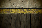 Grungy wood and concrete texture with vignetting. — Stock Photo
