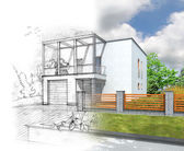 House construction concept vizualization — Foto Stock