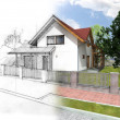 Stock Photo: House sketch and visualization