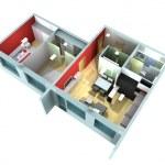 Apartment interior in rendering — Stock Photo