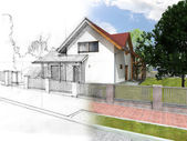 дом эскиз и визуализация — Стоковое фото