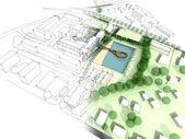 Illustration of an idea in urban design — Stock Photo