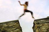 Girl jumps — Stock Photo