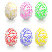 Easter eggs with ornaments — Stock Photo