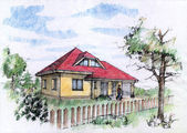 Color illustration of a traditional house — Stock Photo