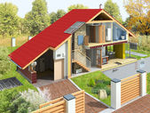 Rendering of a house in a section — Stock Photo