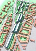 Illustration of a new urban sustainable development area. — Stock Photo