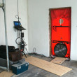 Blower door test for passive houses - Stock Photo