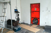 Blower door test for passive houses — Stock Photo