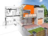 современный дом в разделе — Стоковое фото