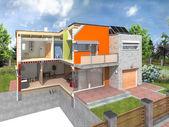 Modern huis in de sectie met tuin rond — Stockfoto