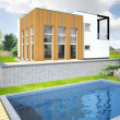 Visualization of a new modern house — Stock Photo