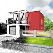Stock Photo: Architectural visualization, implementation of house design