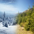Winter and summer in mountains — Stock Photo