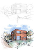 Sketches of a cubic house — Stock Photo
