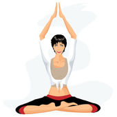 Beautiful woman practicing yoga in lotus posture (Padmasana) — Vecteur