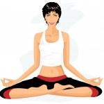 Beautiful woman practicing yoga in lotus posture (Padmasana) — Stock Vector #12855294