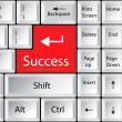 Computer Keyboard with Success Key — Stock Vector