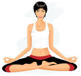Beautiful woman practicing yoga in lotus posture (Padmasana) — Vector de stock
