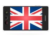 Cellulare realistico su sfondo bianco con la bandiera del regno unito — Vettoriale Stock