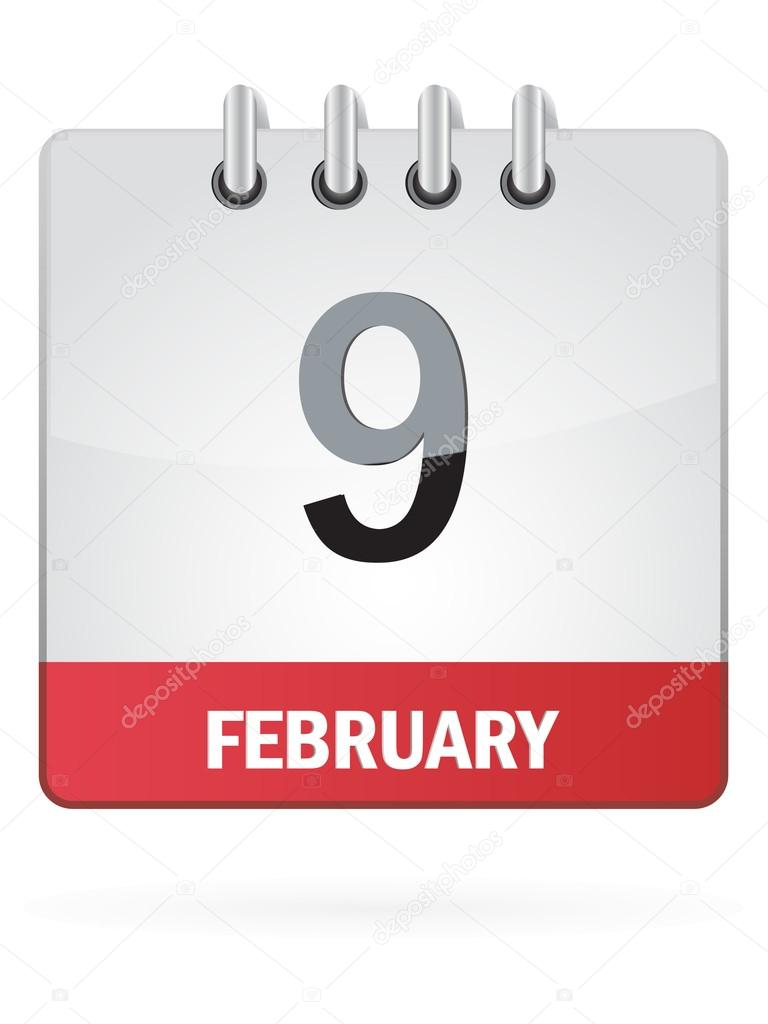 February Calendar Illustration : Ninth in february calendar icon on white background