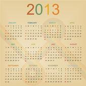 Retro Design Calendar for 2013 — Stock Vector